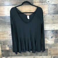 We The Free Women's Black Ribbed Knit Long Sleeve Peplum Top Size Extra Small