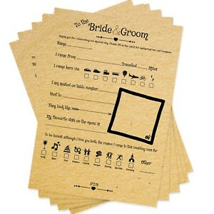 Rustic Wedding Advice Cards For Bride & Groom Wishes Wedding Reception 20 Guests