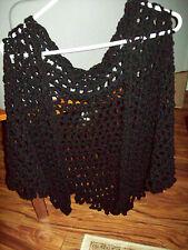 NWOT Handmade Crochet Shawl Black LIGHTWEIGHT Fits M - 1X