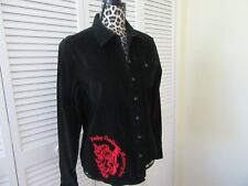 Harley Davidson Top,Shirt Jacket, Women XL. Black, Red HD logo embroidery