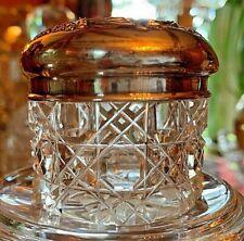 GORGEOUS ABP CUT CRYSTAL AND STERLING SILVER VANITY JAR