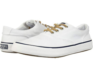 SPERRY TOP SIDER MEN'S 15 STRIPER II CVO OXFORD BOAT SHOES WHITE NAVY CANVAS NEW
