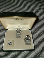 Vintage Anson Silver Tone Cuff Links & Tie Tack Set Silver Mesh Wrap Starburst