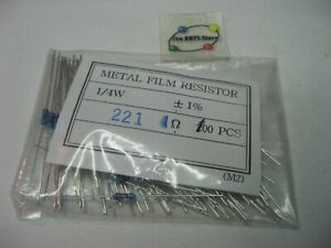 221 Ohm 221R 1% 1/4 Watt Metal Film Resistor Yageo 221XBK-ND - NOS Qty 100