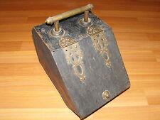 VTG ANTIQUE TIN METAL BRASS HARDWARE ASH COAL SCUTTLE RECEPTACLE CARRIER BOX