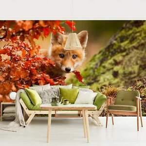 Foto Tapete Fuchs im Herbst Premium Wand Bilder Breit Vlies Tapete Wandbild XXL