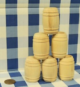 G SCALE set OF 6 Wooden Barrel UNFINISHED 1:24 G Scale TRAIN CARGO