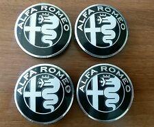 4 pezzi emblemi  NERO Alfa Romeo 56,5 mm adesivo coppa ruota 159 Mito Guilietta