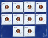 1980 S through 1989 S Proof Lincoln Cent Penny-Set of 10 Proof Cents
