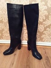 BNWT🌹Next🌹Size 4 /37 Black Knee High Block Heel Leather Pull On Boots RRP £90