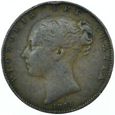 More details for 1845 one farthing of queen victoria collectible coin very nice   #wt27941