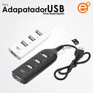 Ladron Adaptador HUB de 4 Puertos USB 2.0 Splitter Multiplicador Negro Blanco