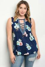 NEW..Stylish Plus Size Navy Floral Sleeveless Top with Lace Up Front..SZ16/1xl