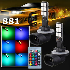2x 881 5050 RGBW LED 12SMD Car Headlight Fog Light Lamp Bulb +Remote Control 12V