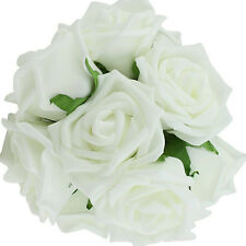 10x Artificial Fake White Flowers Foam Rose Bride Bouquet Party Wedding Decor US