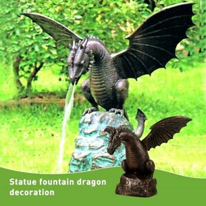 Animal Figurine Dragon Statue Water Fountain Sculpture yard Garden Outdoor Decor