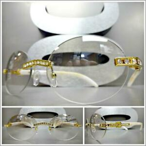 Classy Elegant Sophisticated Oval Clear Lens EYE GLASSES Rimless Marble Frame