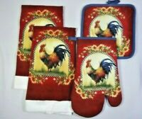 French Country Rooster Sunflowers Kitchen Linen 4-Pc Towels Oven Mitt Pot Holder