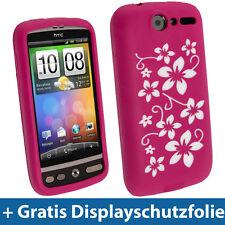 Pink Blume Silikon Tasche für HTC Desire Bravo G7 Android Handy Hülle Case Skin