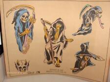 VINTAGE GRIM REAPER 1976 SPAULDING ROGERS TATTOO FLASH SHEET COLOR DEATH CYCLE