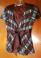 Nanette Lepore Geometric Silk Print Blouse  size 2