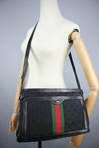 Gucci GG Vintage 80s Crossbody/Hand Bag Monogram Canvas & leather  Size Medium