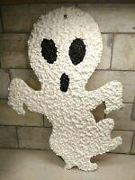 Vintage Melted White & Black Plastic Popcorn Halloween Ghost Decoration