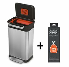 JOSEPH JOSEPH Titan Stainless Steel Kitchen Waste Garbage Rubbish Bin Compactor