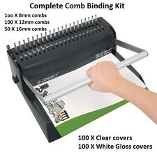 Premium Comb Binding Machine kit set  250 X Binding combs & 200 X Binder Covers