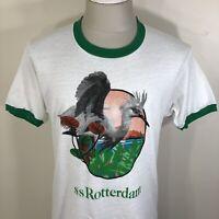 VTG 80s Screen Stars Ringer T Shirt SS Rotterdam Netherlands White Tee M/L 70s