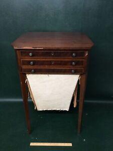 Fine Sheraton/Hepplewhite Antique Mahogany 3 Drawer  Inlaid Sewing Stand