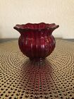 Fenton Ruby Red Fabrege Rose Bowl Marked OVG