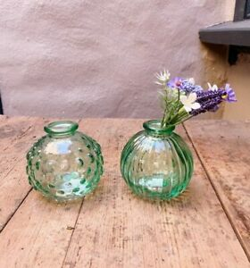 Pair of Small Green Glass Jive Bud Vases, Round, Textured, Vintage Wedding