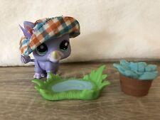 Littlest Pet Shop LPS #1908 Rhino Purple Playset Blue Eyes New 100% Authentic