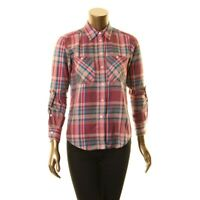 LAUREN RALPH LAUREN NEW Women's Plaid Cotton-twill Button Down Shirt Top M TEDO