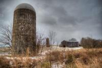 Silos in December Photo Art Print Poster 24x36 inch