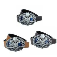 Oval Skull Pirate Belt Buckle with Adjustable Leather Belt for Men's Jeans