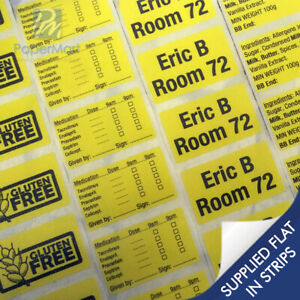 50 x Personalised Printed Sticker Labels - YELLOW STICKER - ANY TEXT PRINTED