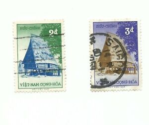 2 RARE South Vietnam straw hut stamps. USED. Good condition