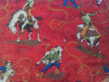 1 Yd Cowboy Quilting Fabric Western Allover Rope Red