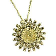 Goldtone 1911 Liberty Nickel Coin Lapel Pin and Necklace Crystals Coin Jewelry
