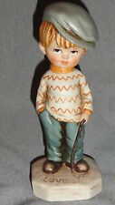 VINTAGE MOPPETS 1971 FRAN MAR BOY WITH STICK I LOVE YOU PORCELAIN FIGURINE 1971*