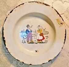 ANTIQUE EARLY 20th CENTURY HAND PAINTED DUTCH THEME ENAMELWARE DISH - GERMANY