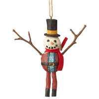 Enesco Sticks Christmas Ornament — Snowman Dressed as Santa w/ Top Hat and Pipe