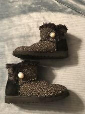 UGG Mini Bailey Button Boots Fancy Sparkle Tweed Black Size 8 EXCELLENT