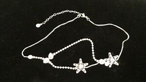 SWAROVSKI Crystals Silver Chain Necklace Stars Pendant Bib Choker New Authentic