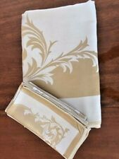 "Silk Tablecloth w/8 Matching Napkins Gold/White Approx. 80""x60"" Dinner Holiday"