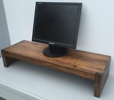 TV Riser Stand Modern Rustic Solid Wood with Rum Finish