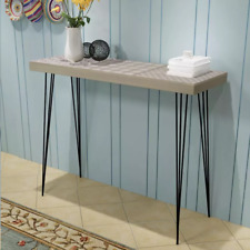 Rustic Narrow Console Table Hallway Side End Sideboard Steel Legs 90cm Chic