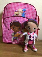 Disney Doc Mcstuffin Back Pack Rucksack And Soft Plush Figure Bundle Fab Gift